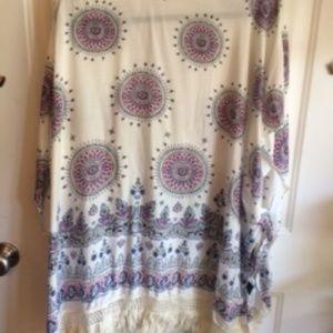 05cca91289 LVS Collections Tops | Lvs Collection White Purple Fringe Kimono Os ...